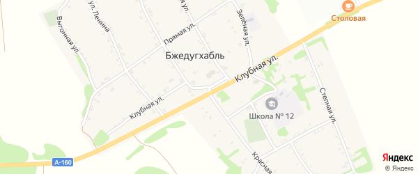 Красная улица на карте аула Бжедугхабля с номерами домов