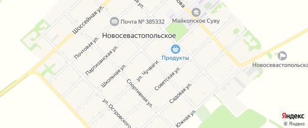 Улица Чучваги на карте Новосевастопольского села Адыгеи с номерами домов