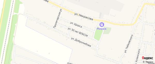 Улица 50 лет ВЛКСМ на карте Усмани с номерами домов