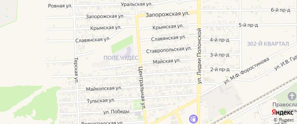Майская улица на карте садового некоммерческого товарищества Рассвета с номерами домов