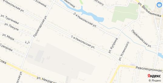 Никольская 1-я улица в Усмани с номерами домов на карте. Спутник и схема онлайн