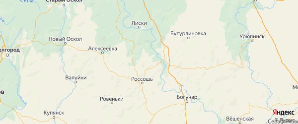 Карта Подгоренский района Воронежской области с городами и населенными пунктами