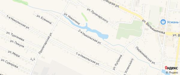 2-я Никольская улица на карте Усмани с номерами домов