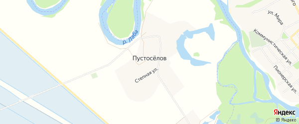 Карта хутора Пустоселова в Адыгее с улицами и номерами домов