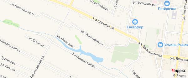 Улица Луначарского на карте Усмани с номерами домов