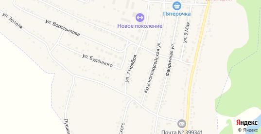 Улица 7 Ноября в Усмани с номерами домов на карте. Спутник и схема онлайн