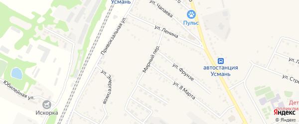 Мирный переулок на карте Усмани с номерами домов