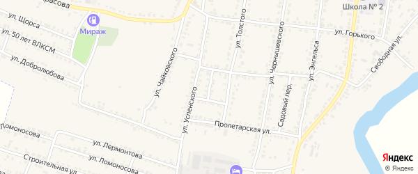 Кольцовская улица на карте Усмани с номерами домов