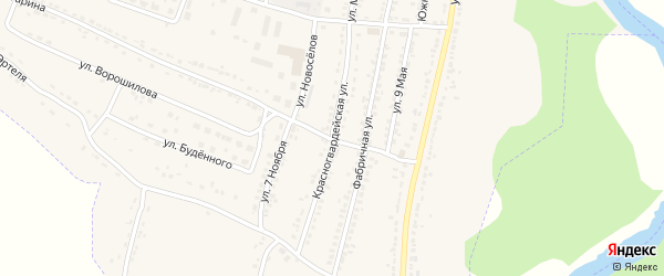 Красногвардейская улица на карте Усмани с номерами домов
