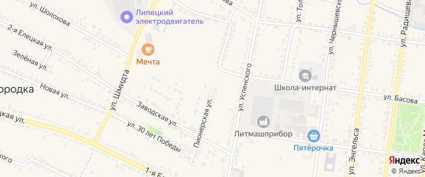 Пионерская улица на карте Усмани с номерами домов