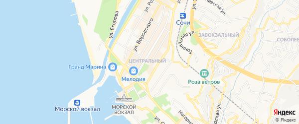 Карта Хостинского района города Сочи в Краснодарском крае с улицами и номерами домов