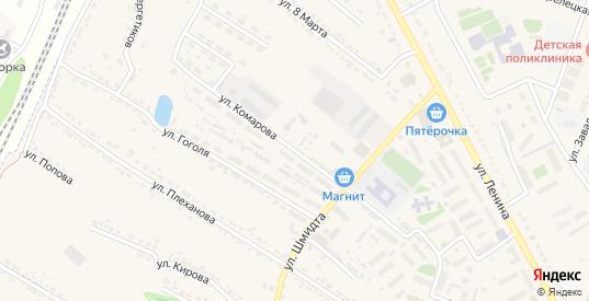 Улица Комарова в Усмани с номерами домов на карте. Спутник и схема онлайн