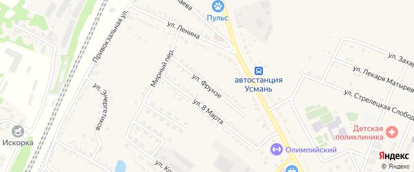 Улица Фрунзе на карте Усмани с номерами домов