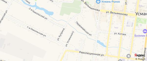 Улица Г.Успенского на карте Усмани с номерами домов