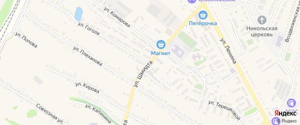 Улица Шмидта на карте Усмани с номерами домов