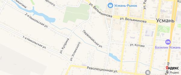 Первомайская улица на карте Усмани с номерами домов