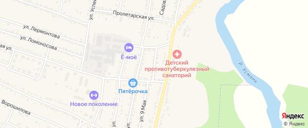 Южный переулок на карте Усмани с номерами домов