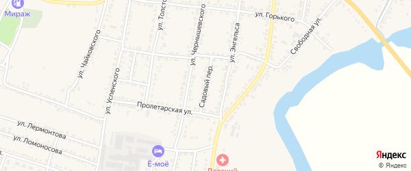 Садовый переулок на карте Усмани с номерами домов