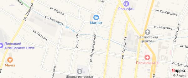 Острожный переулок на карте Усмани с номерами домов