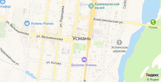 Площадь Ленина в Усмани с номерами домов на карте. Спутник и схема онлайн