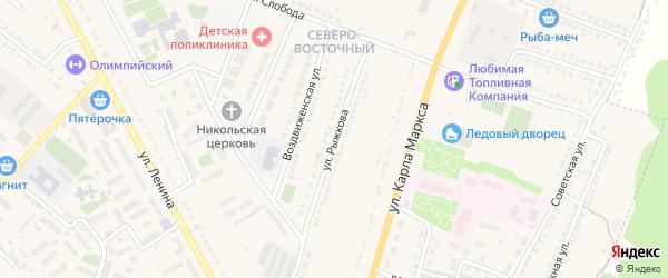 Улица Рыжкова на карте Усмани с номерами домов