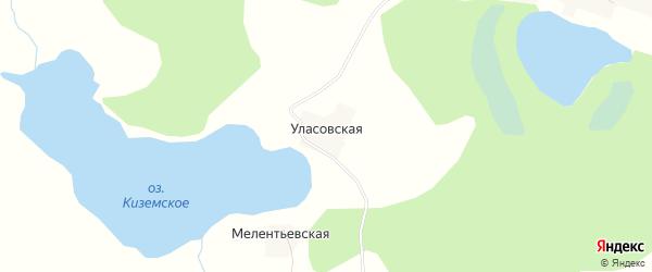 Карта Уласовской деревни в Вологодской области с улицами и номерами домов