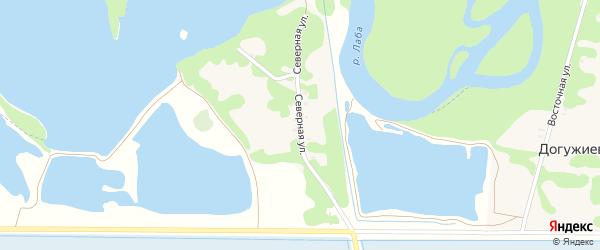 Северная улица на карте хутора Догужиева Адыгеи с номерами домов