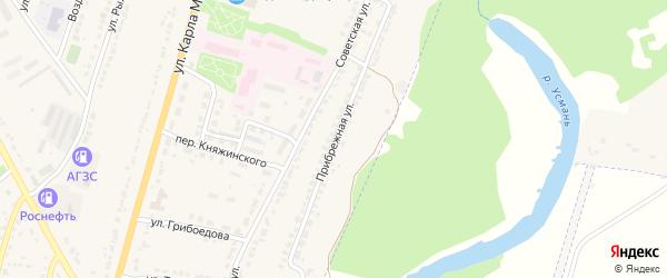 Прибрежная улица на карте Усмани с номерами домов