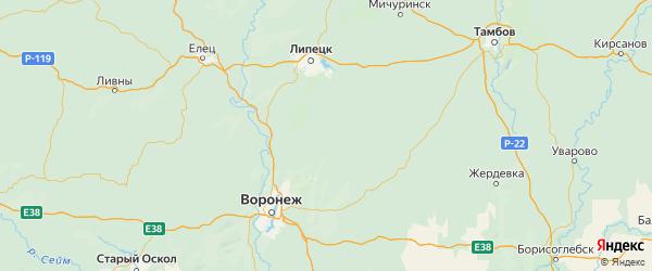 Карта Усманского района Липецкой области с городами и населенными пунктами
