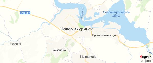 Карта Новомичуринска с районами, улицами и номерами домов