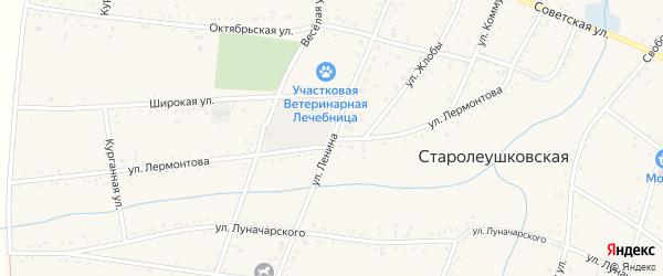Улица Лермонтова на карте Старолеушковской станицы Краснодарского края с номерами домов