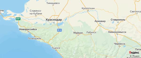 Карта Белореченского района Краснодарского края с городами и населенными пунктами