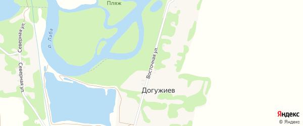 Восточная улица на карте хутора Догужиева Адыгеи с номерами домов