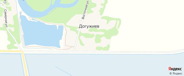 Дорога А/Д Белое-Догужиев на карте хутора Догужиева Адыгеи с номерами домов