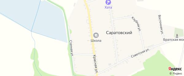 Красная улица на карте Саратовского хутора Адыгеи с номерами домов