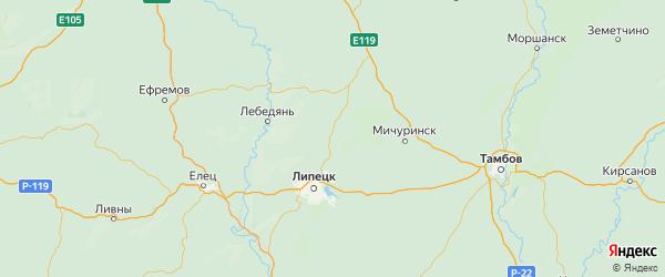 Карта Добровского района Липецкой области с городами и населенными пунктами