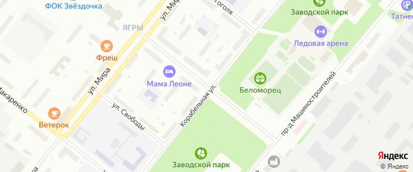 Улица Адмирала Нахимова на карте Северодвинска с номерами домов