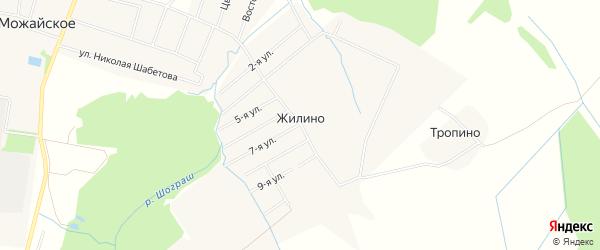Карта деревни Жилино в Вологодской области с улицами и номерами домов