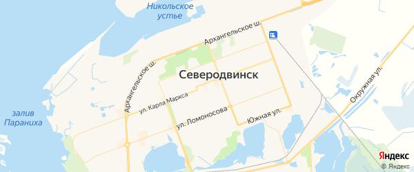 Карта Северодвинска с районами, улицами и номерами домов