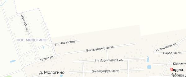 Улица Новаторов на карте деревни Мологино Ярославская области с номерами домов