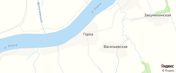 Карта деревни Горки в Архангельской области с улицами и номерами домов