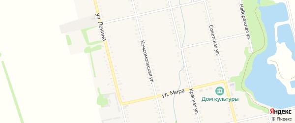 Комсомольская улица на карте Большесидоровского села Адыгеи с номерами домов