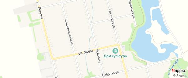 Красная улица на карте Большесидоровского села Адыгеи с номерами домов