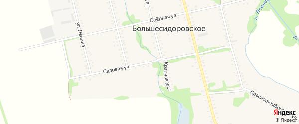 Садовая улица на карте Большесидоровского села Адыгеи с номерами домов