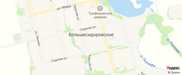 Красный переулок на карте Большесидоровского села Адыгеи с номерами домов