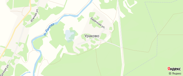 Карта деревни Ураково в Рязанской области с улицами и номерами домов