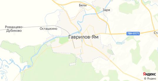 Карта Гаврилова-Яма с улицами и домами подробная. Показать со спутника номера домов онлайн