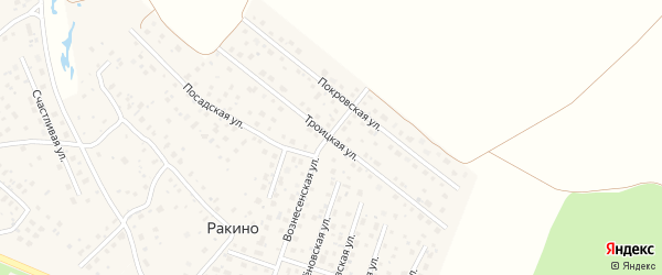 Троицкая улица на карте деревни Ракино Ярославская области с номерами домов