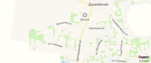 Школьная улица на карте аула Джамбичи Адыгеи с номерами домов