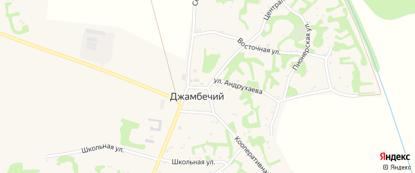 Центральная улица на карте аула Джамбичи Адыгеи с номерами домов